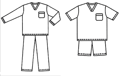 Pajama outlines for coloring coloring pages for Pajama coloring page